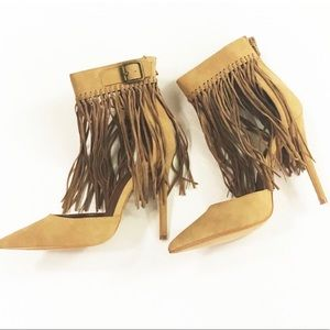 New Fringe Heels Suede Like Material